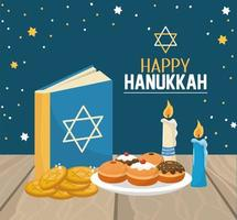 hanukkah book with breads and cookies celebration vector