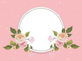 Cornice floreale rotonda rosa vintage