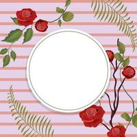Quadro redondo floral vintage vetor
