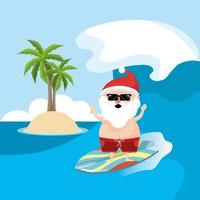 Kerstman op surfplank