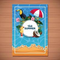 Hello summer card on wooden background