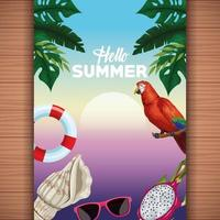 Hello summer card on wooden background with trees and parrot