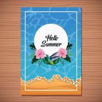 Hello summer card on wooden background with ocean and beach