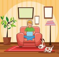 Teenager with videogame cartoon vector