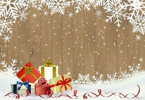 Christmas and happy new year background with snowflake on wood with gifts