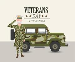 patriotisk soldat med uniform och militärbil