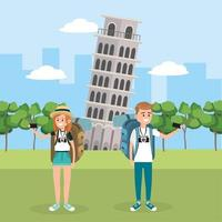 woman and man travel in the leaning tower of pisa