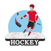 hockey player with stick and puck in the rink vector