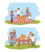 family together with basket to picnic recreation