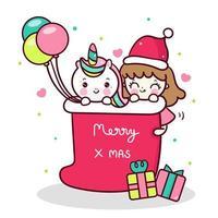 Vecteur de licorne mignon et petite fille dessin animé personnage de Noël animal Kawaii