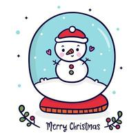 Pupazzo di neve sveglio nella sfera del globo Carattere di Natale allegro x mas
