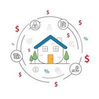 Diseño plano de línea delgada de casa inteligente