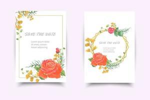 cartão de convite de casamento com flor rosa colorida vetor