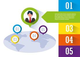 businessman with infographic and planet earth