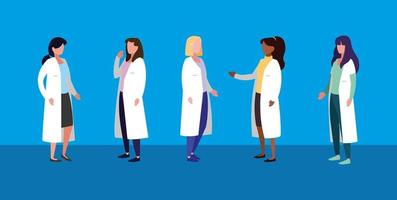 group of women doctors avatar character