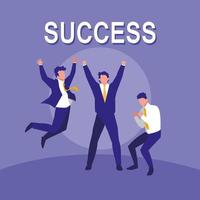 successful businessmen celebrating characters vector