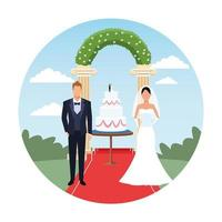 wedding couple cartoon with cake