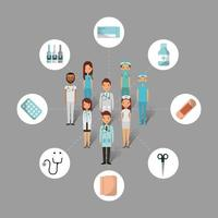 medical health care people and tools set vector