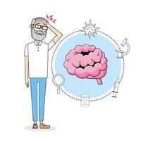 anciano eith dolor de cabeza enfermedad tratamiento vector