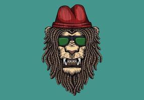 Tête de lion avec des dreadlocks