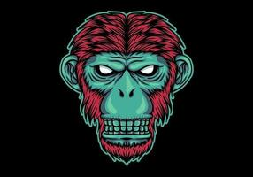 Neon monkey head  vector
