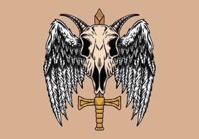 Skull goat wing