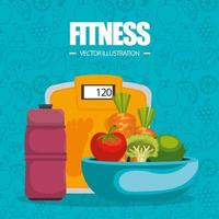 healthy food and fitness icons and pattern