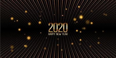Golden Happy New Year banner design