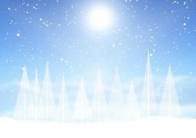 Christmas tree snowy landscape