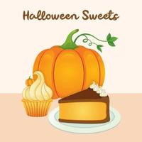 Halloween sweet pumpkin with cake and cupcake