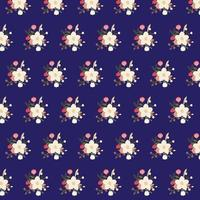 floral bouquet pattern on blue background