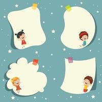 Crianças bonitos dos desenhos animados e Design de modelo vazio