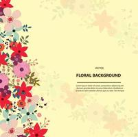 floral background template design vector