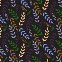 Dark leaves seamless pattern  vector
