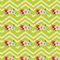 floral pattern design with zig zag stripes