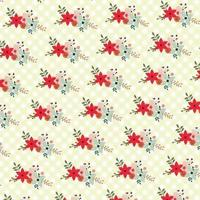 floral background with checker pattern