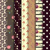 Set of dark floral patterns