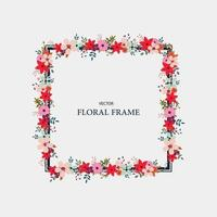 Red and pink floral frame