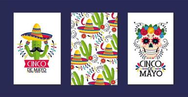 set cards decoration to traditional mexican event vector