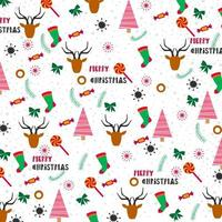 christmas background design with trees, stockings and reindeer
