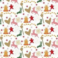 christmas background with hearts, reindeer and gingerbread man