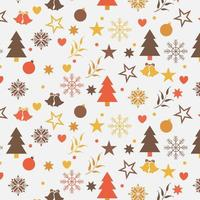 christmas background design with trees, snowflakes, and stars