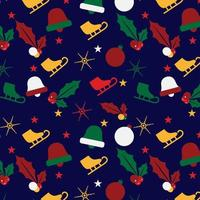 christmas pattern background with ice skate, holly and ornaments