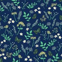 Summer night floral with butterfly seamless pattern
