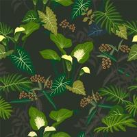 Tropical floral and leaves seamless pattern vector