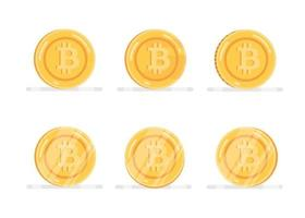 Bitcoin financial system icons set vector