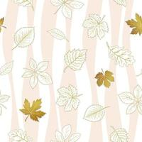 Autumn leaves seamless pattern on white patterned background