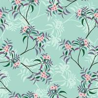 Pink floral seamless pattern on green