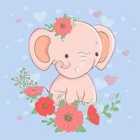 Cute cartoon elephant with a bouquet of poppies