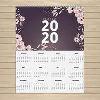 2020 design floreale calendario rosa